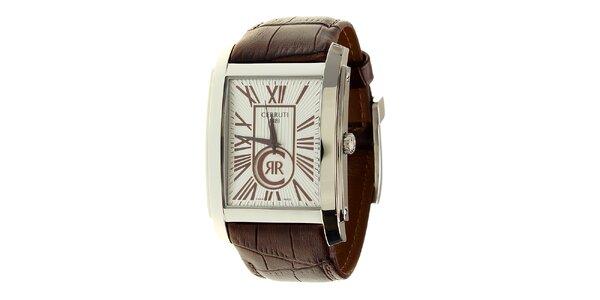 Pánské ocelové hodinky Cerruti 1881 s hnědým koženým řemínkem