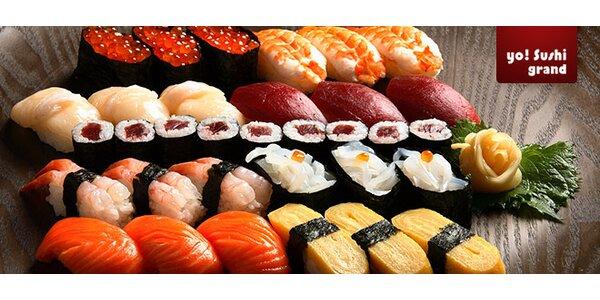 52 ks sushi, polévky, saláty a nápoje v Yo! Grand Sushi