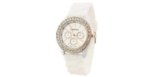 Geneva with rhinestones flint Color/White, dámské hodinky