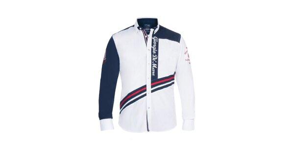 Pánská bílá košile s modrým rukávem Giorgio di Mare