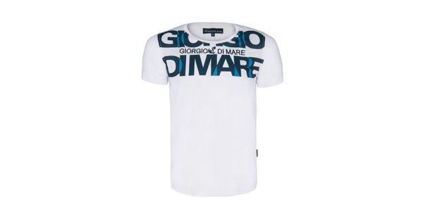 Pánské bílé tričko s velkým nápisem Giorgio di Mare