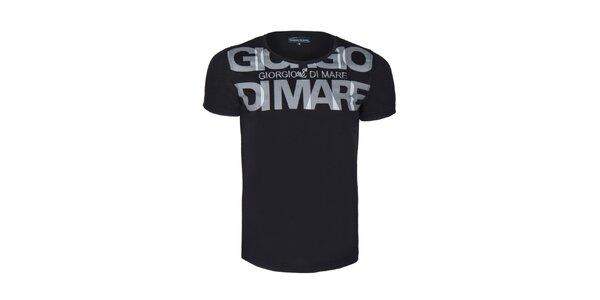 Pánské černé tričko s velkým nápisem Giorgio di Mare