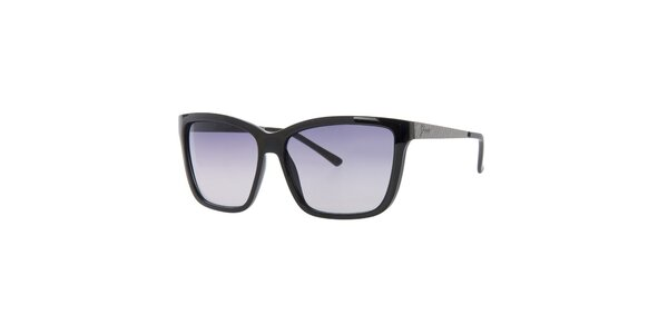 Dámské černé hranaté sluneční brýle Guess