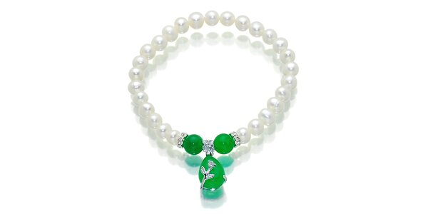 Bílý perlový náramek Orchira s přírodně zeleným malajským nefritem