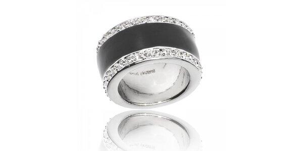 Dámský stříbrný prsten Bague a Dames s černým perleťovým proužkem a zirkony