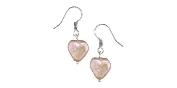 Dámské růžové perlové náušnice Orchira se srdíčky