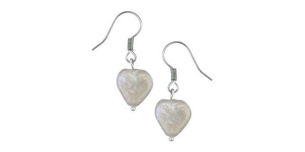 Dámské bílé perlové náušnice Orchira se srdíčky