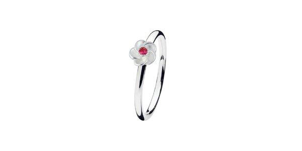 Dámský prstýnek s květinou s barevným terčíkem Spinning