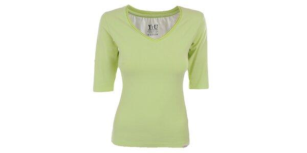 Dámské limetkové tričko s véčkovým výstřihem YU Feelwear