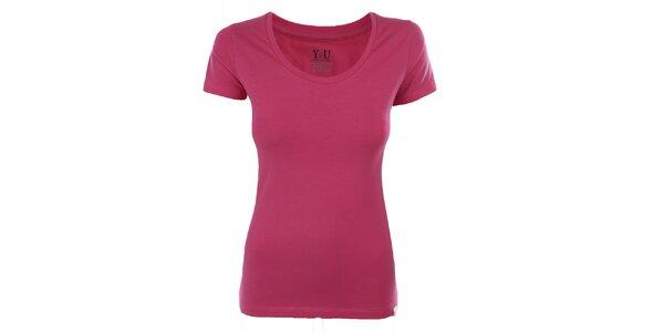 Dámské růžové tričko s krátkým rukávem YU Feelwear