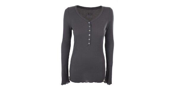Dámské šedé žebrované tričko YU Feelwear