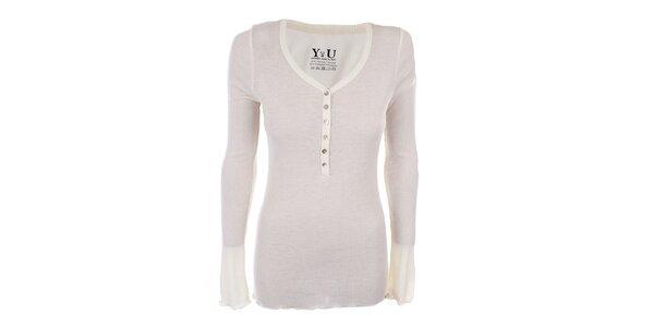 Dámské krémově bílé žebrované tričko YU Feelwear