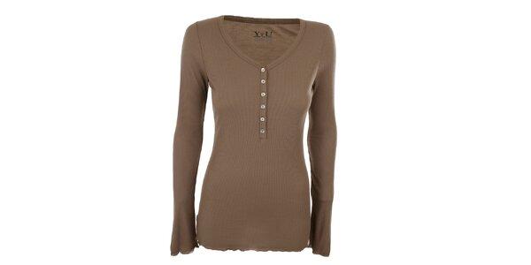 Dámské hnědé žebrované tričko YU Feelwear