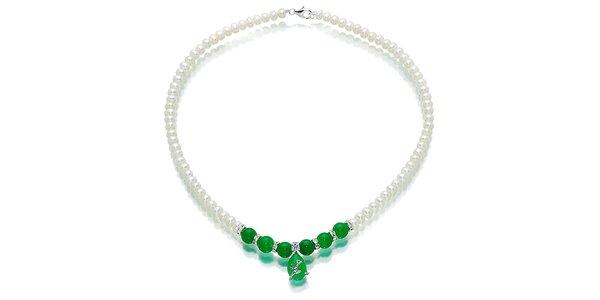 Bílý perlový náhrdelník Orchira s malajským nefritem