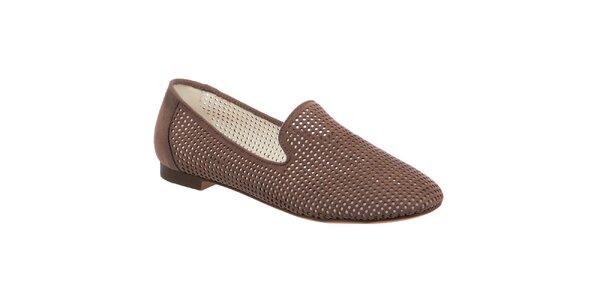 Dámské hnědé perforované loafers Keddo