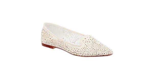Dámské perforované krémově bílé loafers Keddo