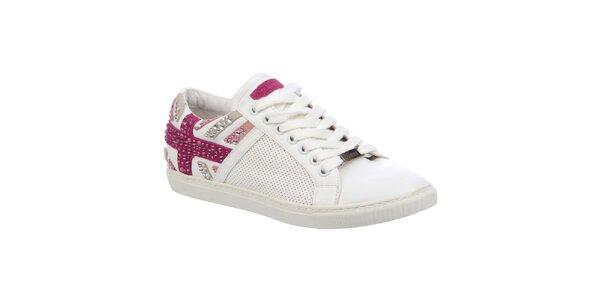 Dámské bílé tenisky s růžovými prvky Keddo