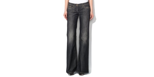 Dámské antracitové džíny do zvonu Roccobarocco