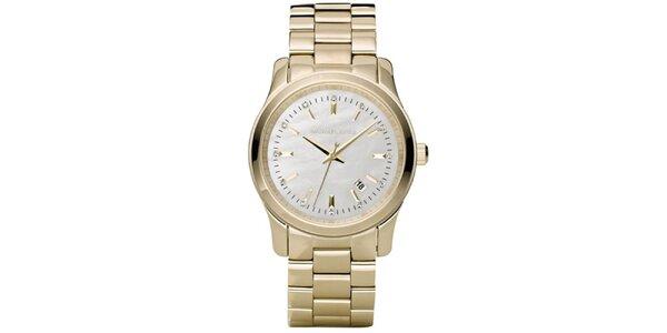 Dámské zlacené hodinky s datumovkou Michael Kors