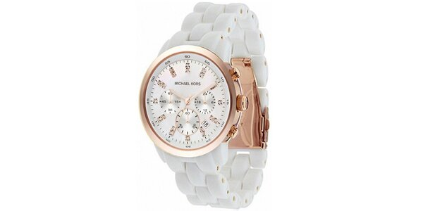 Dámské bílé hodinky s perleťovým ciferníkem a chronografem Michael Kors