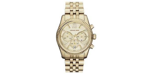 Dámské hodinky s chronografem a datumovkou ve zlatém provedení Michael Kors