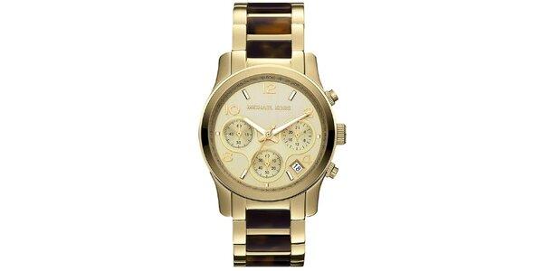 Dámské analogové hodinky z pozlacené oceli Michael Kors