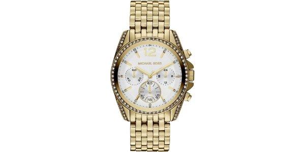 Dámské zlacené hodinky s datumovkou a chronografem Michael Kors