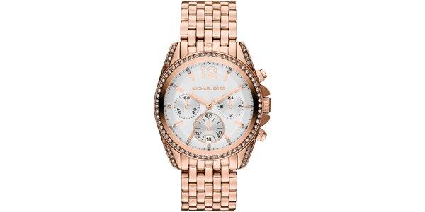 Dámské hodinky v barvě růžového zlata s datumovkou a chronografem Michael Kors