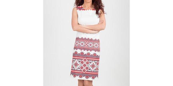 Dámské bílé šaty s aztéckým vzorkem Chaser
