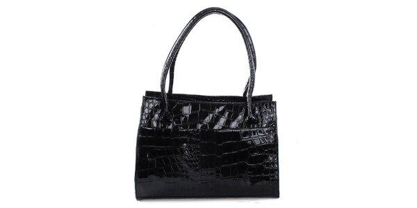 Dámská lesklá černá prostorná kabelka Mercucio