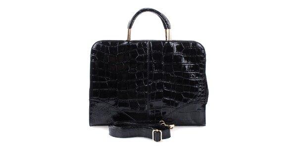 Dámská lesklá černá prostorná kabelka Mercucio s odnímatelným popruhem
