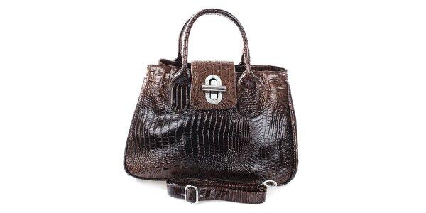 Dámská lesklá kabelka s otočným zámečkem v hnědé barvě Mercucio