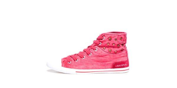 Dámské růžové kotníkové tenisky s hvězdičkami Big Star