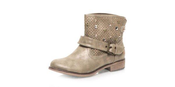 Dámské šedobéžové kotníčkové boty s perforací Big Star