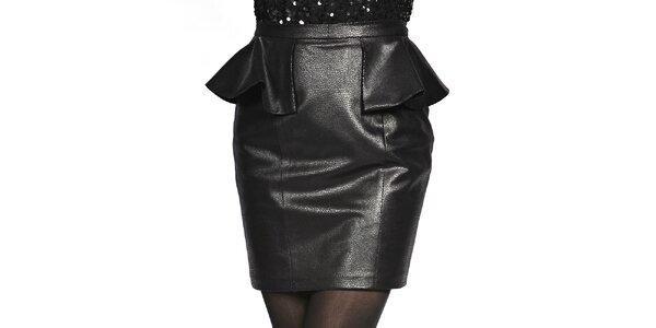 Dámská černá sukně v koženém looku Liquorish