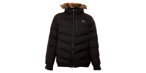 Pánská černá péřová bunda Puma s kožíškem