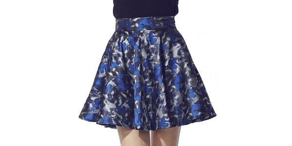 Dámská krátká sukně s modro-stříbrným potiskem Liquorish