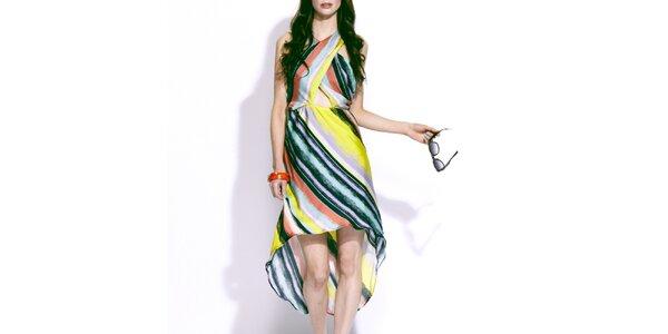 Dámské barevné šaty s asymetrickou sukní Liquorish