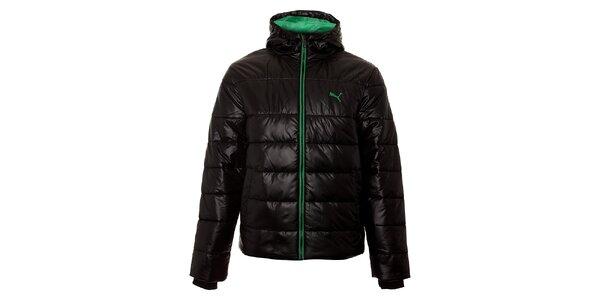 Pánská černá zimní prošívaná bunda Puma se zelenými detaily