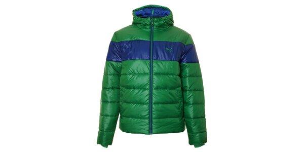 Pánská zelená zimní prošívaná bunda Puma s modrým pruhem