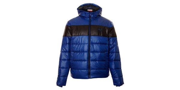Pánská modrá zimní prošívaná bunda Puma s černým pruhem