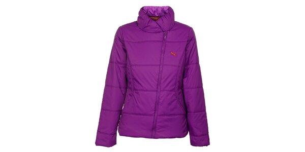 Dámská sytě fialová zimní prošívaná bunda Puma se šikmým zipem