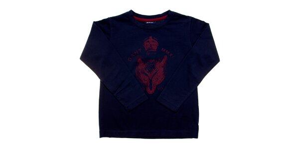 Dětské tmavě modré tričko Gant s červeným potiskem