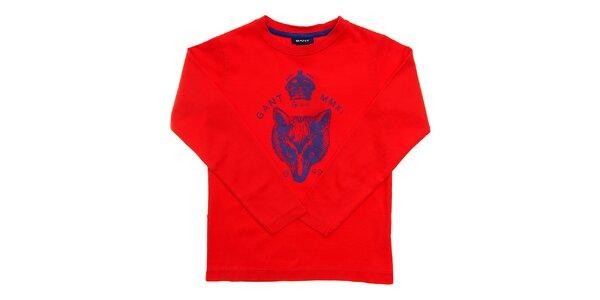 Dětské červené tričko Gant s modrým potiskem