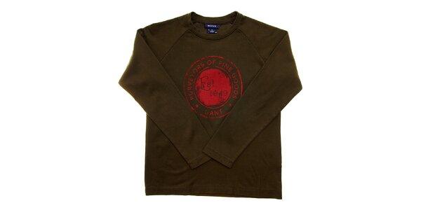Dětské khaki tričko Gant s potiskem