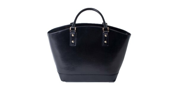 Dámská černá kožená prostorná taška Pelleteria