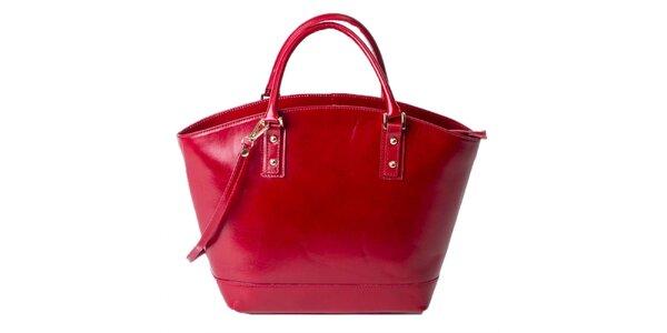 Dámská malinová kožená prostorná taška Pelleteria
