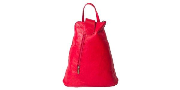 Dámský sytě růžový kožený batoh Pelleteria