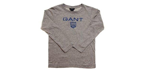 Dětské světle šedé tričko Gant s modrým logem