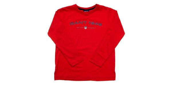 Dětské červené tričko Gant s potiskem